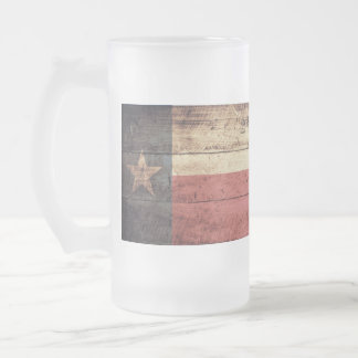 Old Wooden Texas Flag; Frosted Glass Beer Mug