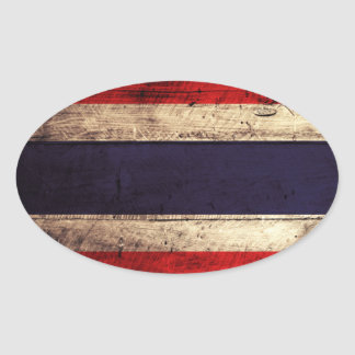 Old Wooden Thailand Flag Oval Sticker