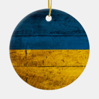 Old Wooden Ukraine Flag Ceramic Ornament