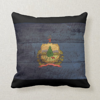 Old Wooden Vermont Flag; Throw Pillow