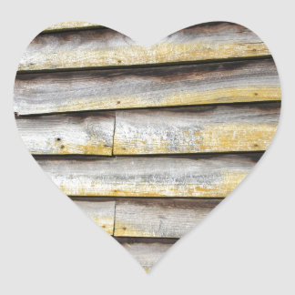Old wooden weather boards heart sticker