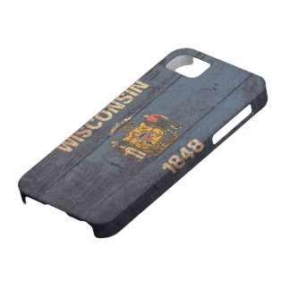 Old Wooden Wisconsin Flag iPhone 5 Cases