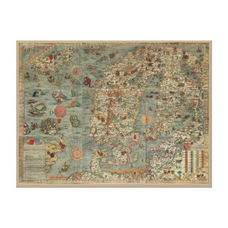 "Old World ""Carta Marina"" Map Canvas Print"