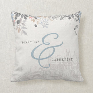 Old world charm pillow with names