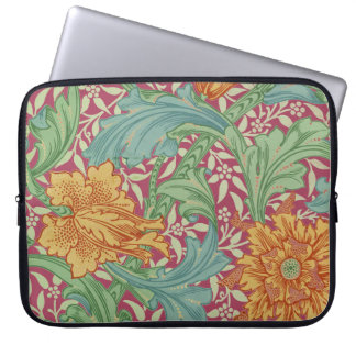 Old World Charm With Orange Flowers For Laptops Laptop Sleeve
