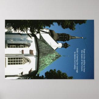 "Old World Church Spiritual ""Hope Faith"" Quote Poster"