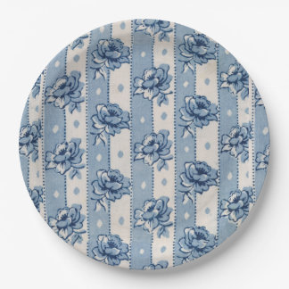 Old World Classic Blue Ivory Floral | Paper Plates