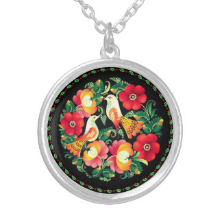 Old World Country Birds Silver Plated Necklace