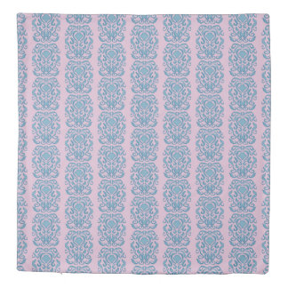 Old World Damask aqua blue repeat pattern orchid Duvet Cover