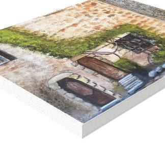 OLD WORLD DOORWAYS   WATERCOLOR CANVAS PRINT
