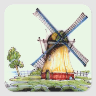 Old World Dutch Windmill Square Sticker