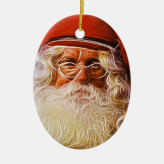 Old World Father Christmas Santa Claus Portrait Ceramic Ornament