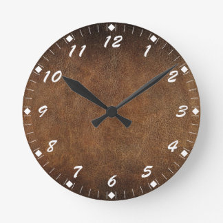 Old World Faux Leather Round Clock