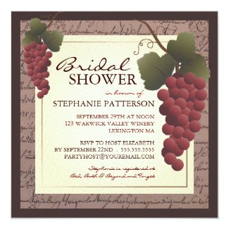 Old World Grapevine Wine Bridal Shower Invitation