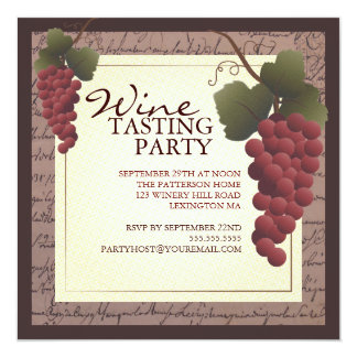 Old World Grapevine Wine Tasting Party Invitation
