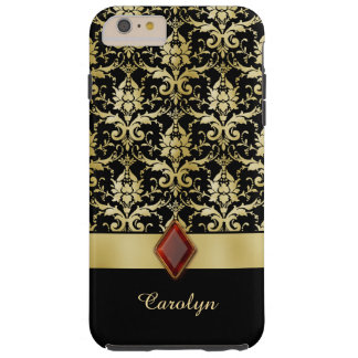 Old World Jewel Gold Damask Personalized Tough iPhone 6 Plus Case