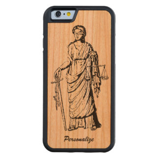 "Old World ""Lady Justice"" Retro or Vintage Drawing Carved Cherry iPhone 6 Bumper Case"