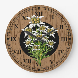 Old World Look Faux Wood & Edelweiss Large Clock