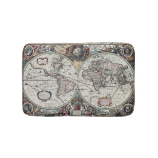 Old World Map 1630 Bath Mat