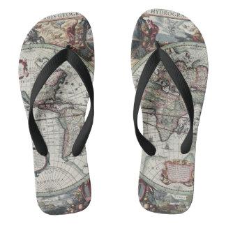 Old World Map 1630 Flip Flops