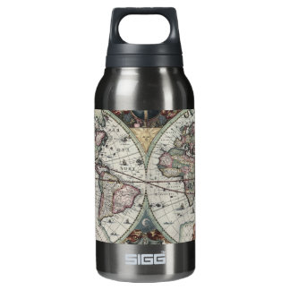 Old World Map 1630 Insulated Water Bottle