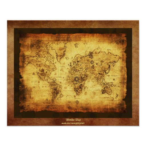 Old World Map Antique Art Poster