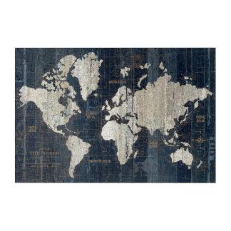 Old World Map Blue Acrylic Wall Art