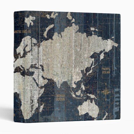 Old World Map Blue Binder