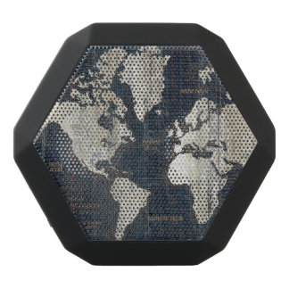 Old World Map Blue Black Bluetooth Speaker
