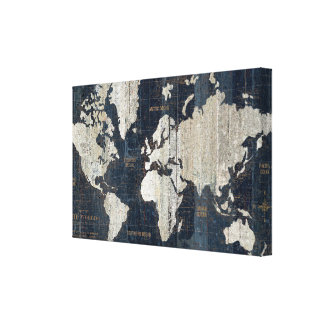 Old World Map Blue Canvas Print