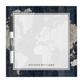 Old World Map Blue Dry Erase Board