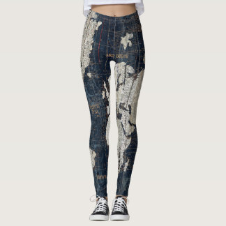 Old World Map Blue Leggings