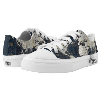 Old World Map Blue Low-Top Sneakers