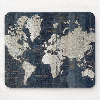 Old World Map Blue Mouse Pad