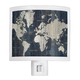 Old World Map Blue Night Lite