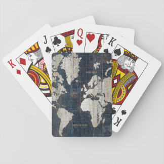 Old World Map Blue Playing Cards