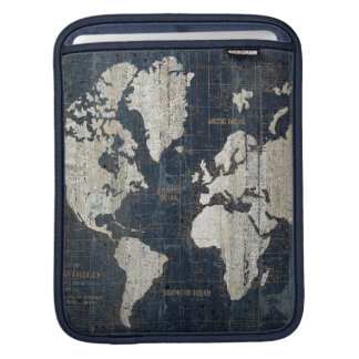 Old World Map Blue Sleeves For iPads