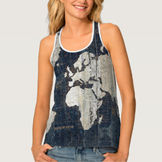 Old World Map Blue Tank Top
