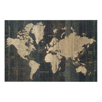 Old World Map Blue Wood Print