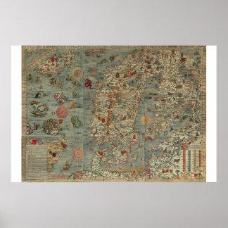 "Old World Map ""Carta Marina"" Poster"
