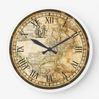 Old World Map Clock