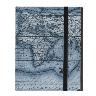 Old World Map In Blue iPad Case