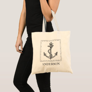 Old World Map Nautical Anchor Add Name Tote Bag
