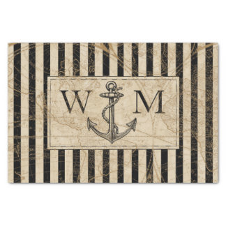 Old World Map Nautical Anchor Monogram Tissue Paper