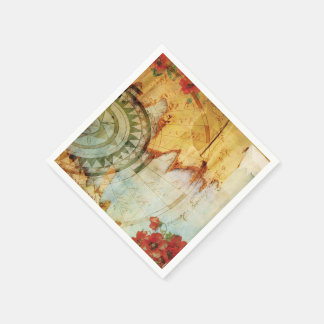 Old World Map & Poppies Custom Paper Napkins