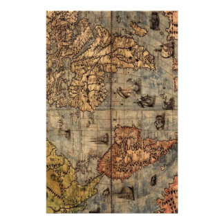 Old World Map Stationery Paper