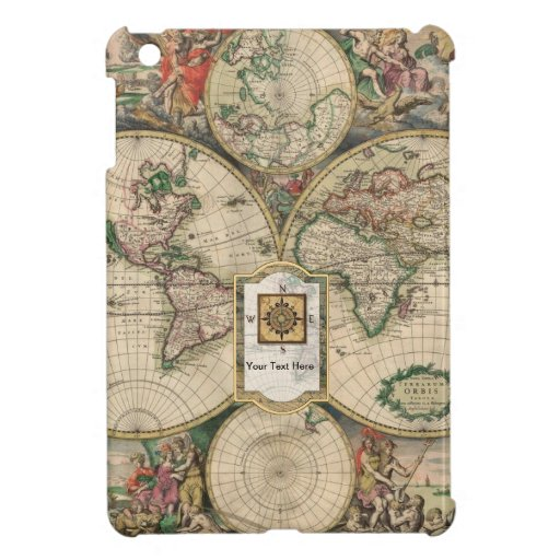 Old World Map with Message/Text Box iPad Mini Case