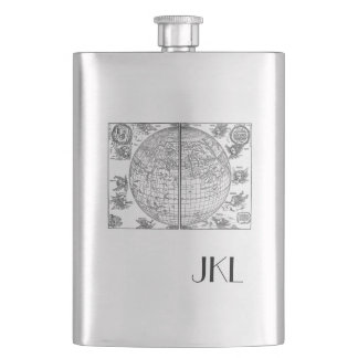 Old World Map with Monogram Hip Flask
