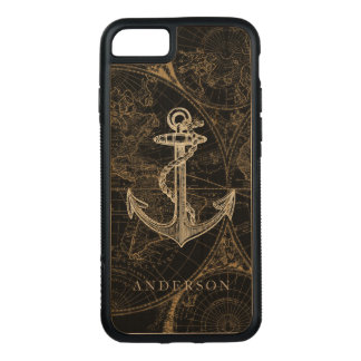 Old World Nautical Anchor Black Add Name Carved iPhone 8/7 Case