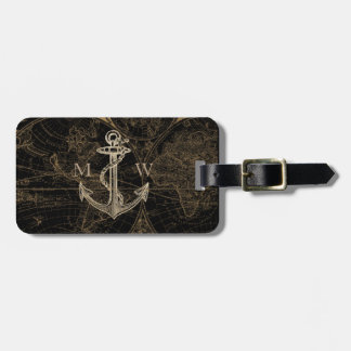 Old World Nautical Anchor Monogram Black Luggage Tag